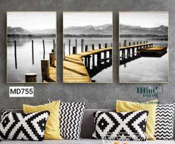 bộ 3 tranh cây cầu gỗ ra sông
