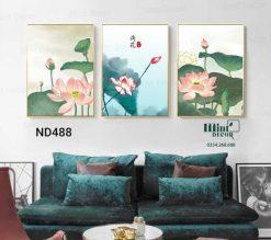 bộ 3 tranh hoa sen mộc mạc