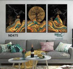 bộ 3 tranh hươu và các tầng đất đồi