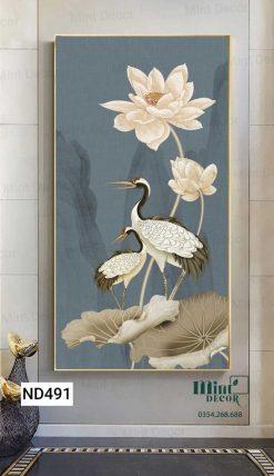 tranh đôi chim hạc bên sen