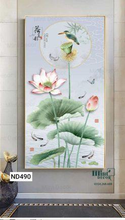 tranh chim bói cá trên cành hoa sen