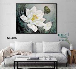 tranh hoa sen trắng tinh khiết