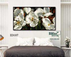 tranh hoa trắng nhị vàng