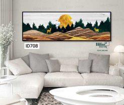 tranh hươu bên trăng vàng