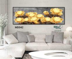 tranh những bông hoa hồng vàng nền xám