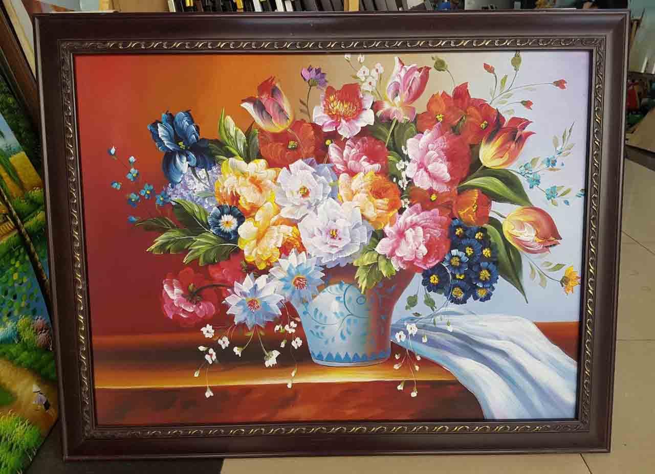 tranh vẽ sơn dầu bình hoa