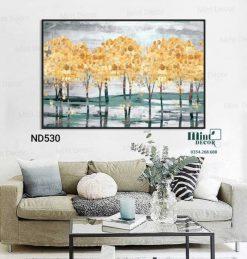 tranh rừng cây vàng trừu tượng