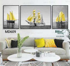 bộ 3 tranh cánh buồm vàng trên biển