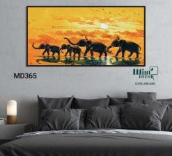 tranh đàn voi châu Phi