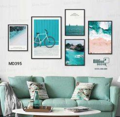 bộ 3 tranh con sóng và bờ cát