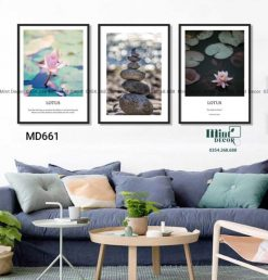 bộ 3 tranh quotes về hoa sen