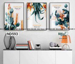 bộ 3 tranh lá plant art nature