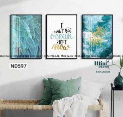 bộ 3 tranh sóng biển xanh