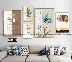 bộ 5 tranh bắc âu bướm và hoa