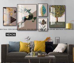bộ 5 tranh bắc âu hươu trừu tượng