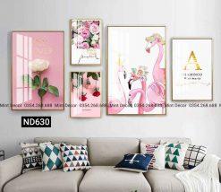 bộ 5 tranh sắc hoa hồng ngọt ngào