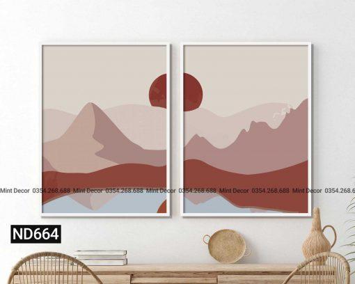 bộ 2 tranh bình minh trên núi