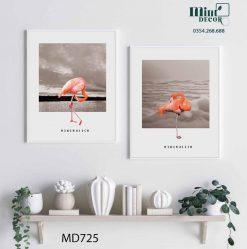 bộ 2 tranh hồng hạc minimalism