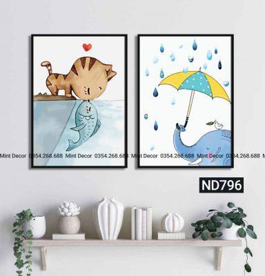 bộ 2 tranh mèo hôn cá và chú voi che ô