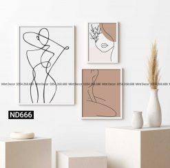bộ 3 tranh cô gái line art