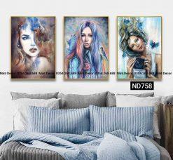 bộ 3 tranh cô gái tóc mây