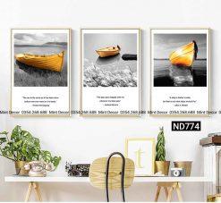 bộ 3 tranh con thuyền vàng