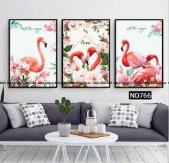 bộ 3 tranh đôi flamingo