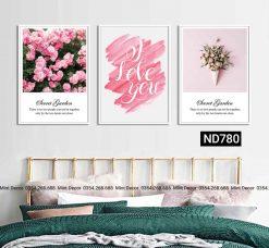 bộ 3 tranh hoa hồng i love you