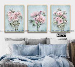 bộ 3 tranh hoa hồng trên nền xanh