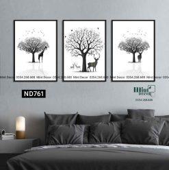 bộ 3 tranh hươu và bóng cây