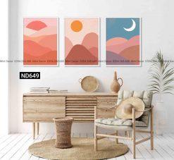 bộ 3 tranh mặt trăng và mặt trời