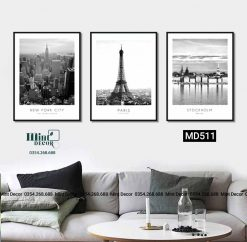 bộ 3 tranh new york-paris-stockholm