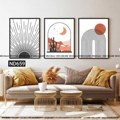bộ 3 tranh ngày và đêm minimalism
