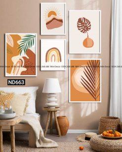 bộ 5 tranh sắc cam thiên nhiên trừu tượng