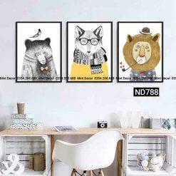bộ 3 tranh sư tử gấu và sói