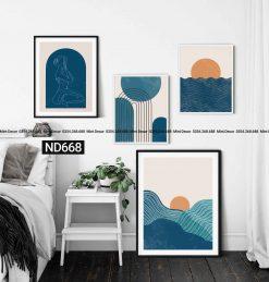 bộ 4 tranh biển xanh trừu tượng