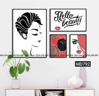 bộ 4 tranh hello beauty