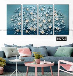 bộ 4 tranh hoa sứ xanh