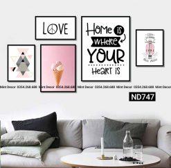 bộ 5 tranh Home love