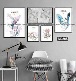 bộ 5 tranh cành hoa mùa xuân
