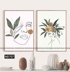 bo 2 tranh co gai mat hoa