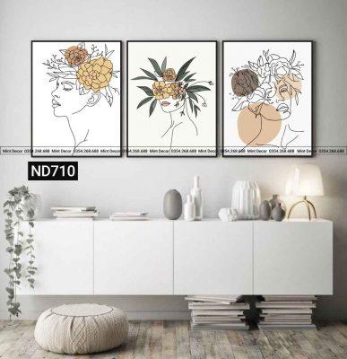 bo 3 tranh flower girls