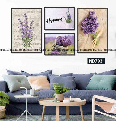 bo 4 tranh hoa lavender