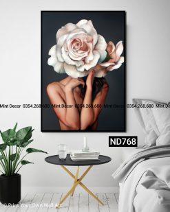 tranh cô gái hoa hồng naked