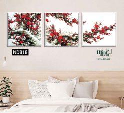 bộ 3 tranh hoa đào đỏ