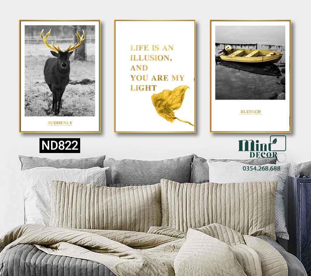 bộ 3 tranh hươu sừng vàng