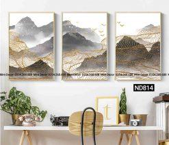 bộ 3 tranh vân vàng bên núi