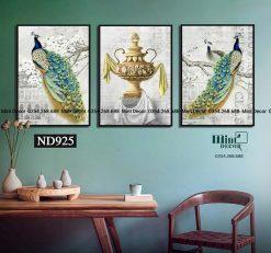 bộ 3 tranh chim công lộng lẫy