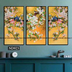 bộ 3 tranh đàn chim trên cành hoa