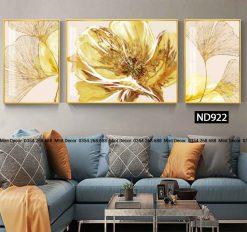 bộ 3 tranh lá bạch quả vàng